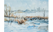 Snow in fields, Chichester. Watercolour SOLD