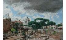 "The Palatino, Rome 50"" x 35"" Oil on Board  SOLD"