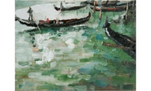 "Gondolas, Venice 16"" x 12"" Oil on Canvas £400"